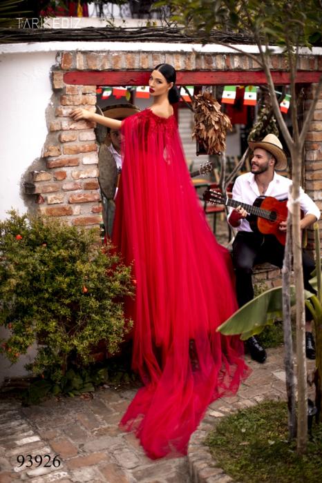 Rochie Tarik Ediz 93926 rosie lunga de seara clos din tulle 3