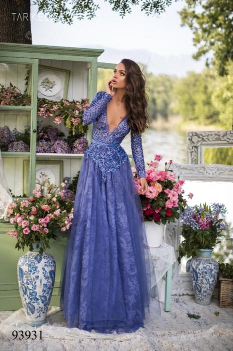 Rochie Tarik Ediz 93931 albastra lunga de seara clos din dantela 0