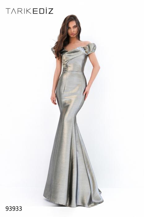 Rochie Tarik Ediz 93933 aurie lunga de seara sirena din glitter 0