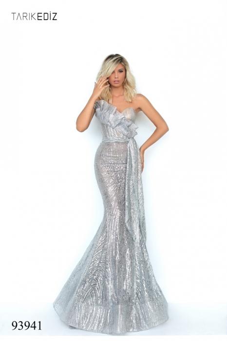 Rochie Tarik Ediz 93941 argintie lunga de seara sirena din glitter [3]
