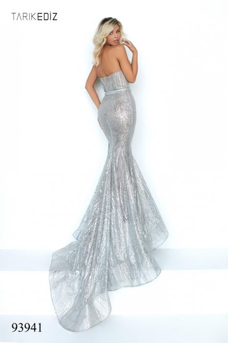 Rochie Tarik Ediz 93941 argintie lunga de seara sirena din glitter [4]