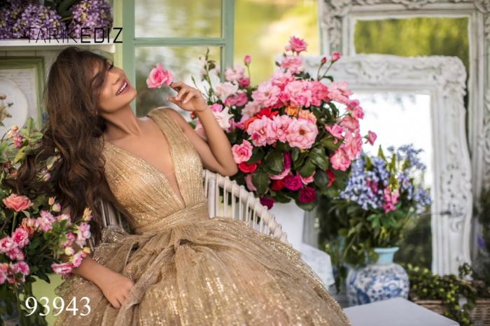 Rochie Tarik Ediz 93943 aurie lunga de seara princess din tulle [1]