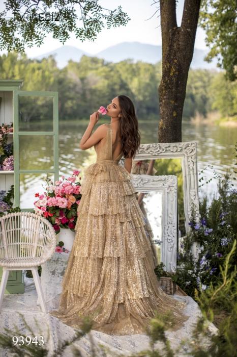 Rochie Tarik Ediz 93943 aurie lunga de seara princess din tulle [2]
