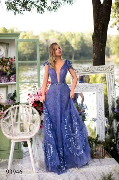 Rochie Tarik Ediz 93946 albastra lunga de seara princess din dantela 0