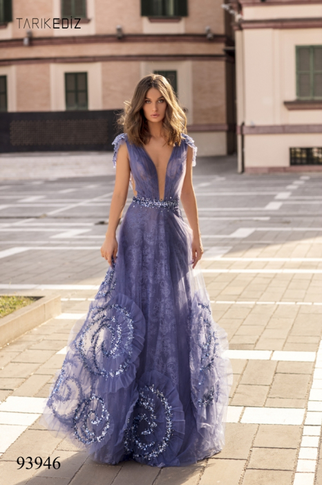 Rochie Tarik Ediz 93946 albastra lunga de seara princess din dantela 2