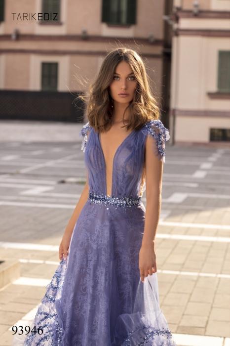 Rochie Tarik Ediz 93946 albastra lunga de seara princess din dantela 3