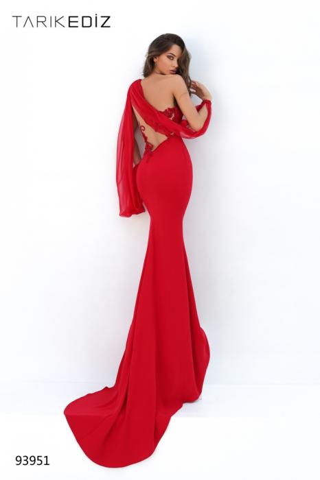 Rochie Tarik Ediz 93951 rosie lunga de seara mulata din crepe [1]