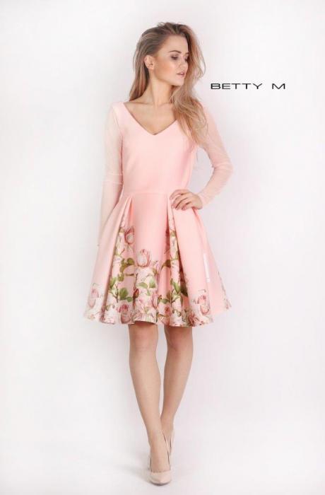 Rochie Betty M Casablanca roz cu flori scurta de vara baby doll 0