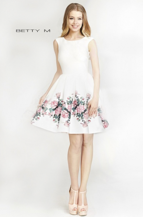 Rochie Betty M Evening Happy Roses alba cu flori scurta de vara baby doll 0