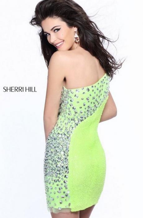 Rochie Sherri Hill 21138 portocalie scurta de seara mulata din paiete 1