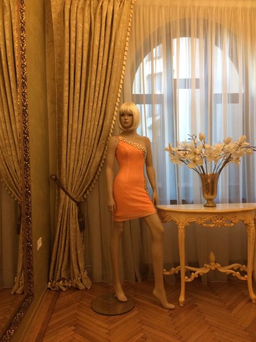Rochie Sherri Hill 21138 portocalie scurta de seara mulata din paiete 2
