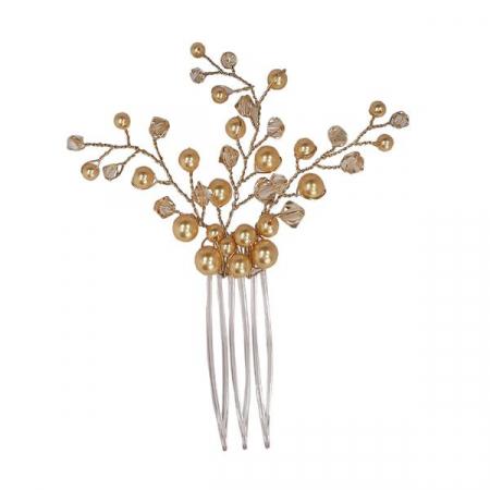 Accesoriu par mireasa cristale Swarovski Branch Golden Shadow1