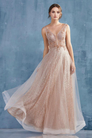 Rochie AndreaLeo Couture A0680 aurie lunga de seara clos din tulle0