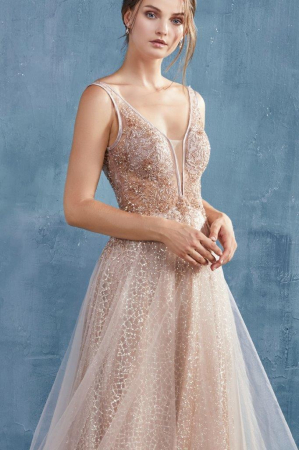 Rochie AndreaLeo Couture A0680 aurie lunga de seara clos din tulle2