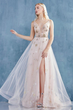 Rochie AndreaLeo Couture A0827 roz lunga de seara clos din tulle [2]