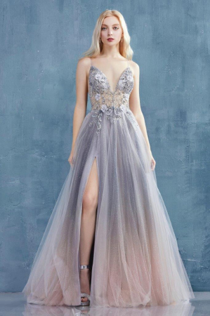 Rochie AndreaLeo Couture A0850 bleu lunga de seara clos din tulle0