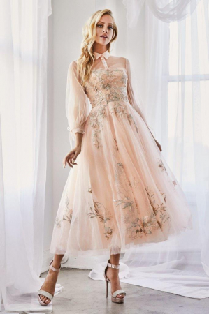 Rochie AndreaLeo Couture A0862 bej maxi de ocazie baby doll din tulle0