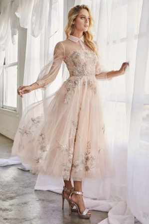 Rochie AndreaLeo Couture A0862 bej maxi de ocazie baby doll din tulle1