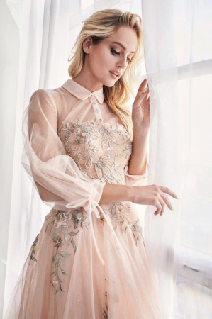 Rochie AndreaLeo Couture A0862 bej maxi de ocazie baby doll din tulle2