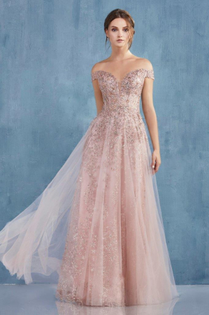 Rochie AndreaLeo Couture A0870 roz lunga de seara clos din tulle1