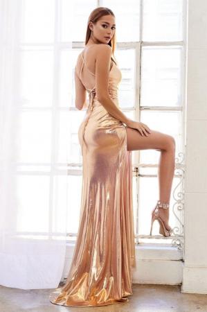 Rochie AndreaLeo Couture A0921 aurie lunga de seara mulata din lame [2]