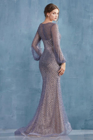 Rochie AndreaLeo Couture A0997 gri lunga de seara sirena din tulle [2]