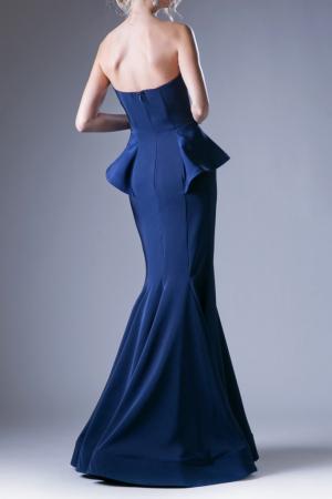 Rochie Andrea Leo Couture 9003 bleumarin lunga de seara tip sirena din crepe1