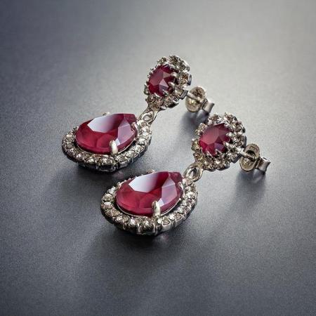 Cercei cristale Swarovski Emily Royal Red3