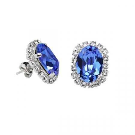 Cercei cristale Swarovski Vivian 3 Saphire0