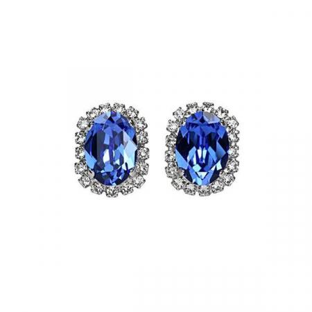Cercei cristale Swarovski Vivian 3 Saphire1