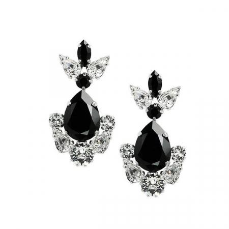 Cercei cristale Swarovski Xena Alb & Negru [0]