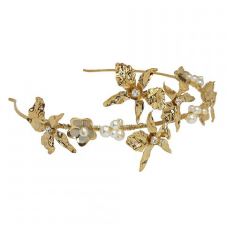 Diadema mireasa perle Swarovski Bright Gold [1]
