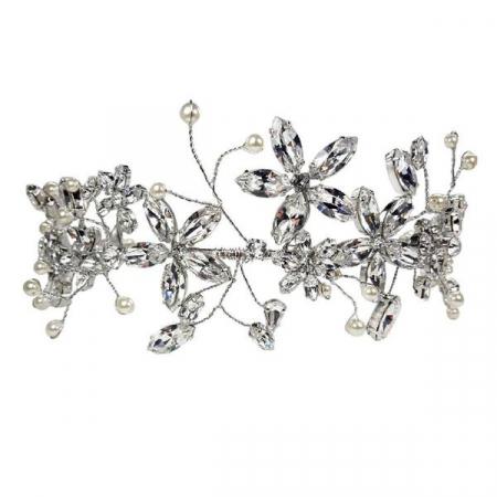 Diadema mireasa cristale Swarovski Cherry Flower Crystal0