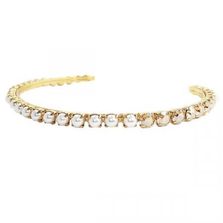Diadema mireasa perle Swarovski 8006L Pearl &Golden Shadow G [1]