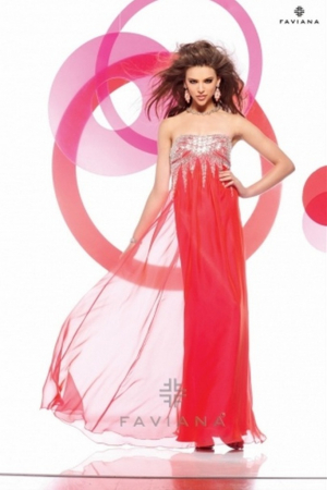 Rochie Faviana 7109 roz lunga de seara in clos din voal [1]