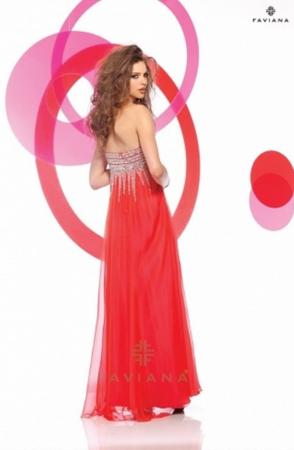 Rochie Faviana 7109 roz lunga de seara in clos din voal [2]
