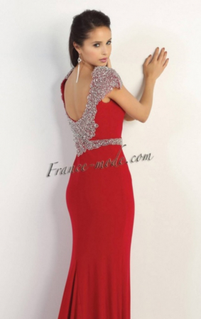 Rochie France Mode M1156 rosie lunga de seara mulata din crepe2
