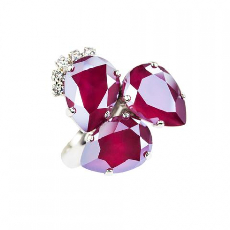Inel cristale Swarovski Elisabeta Royal Dark Red0