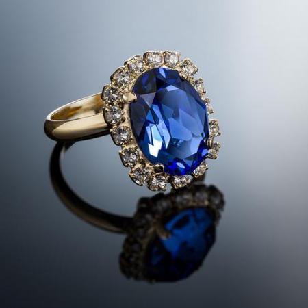 Inel cristale Swarovski Vivian Saphire Golden2