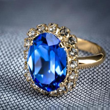 Inel cristale Swarovski Vivian Saphire Golden1