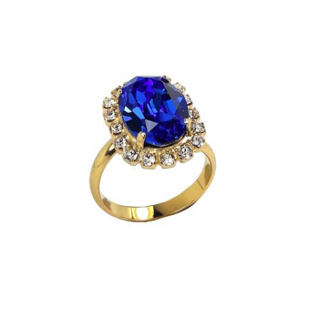 Inel cristale Swarovski Vivian Saphire Golden0