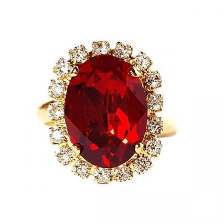 Inel cristale Swarovski Vivian Siam Golden2