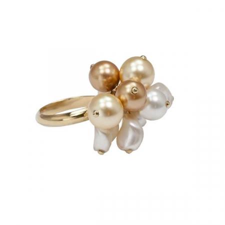 Inel perle Swarovski Auriu cu Alb G0