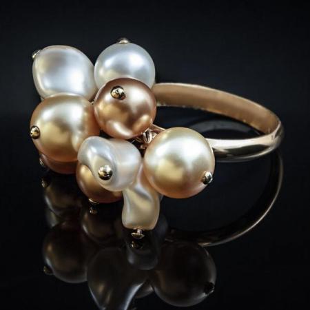 Inel perle Swarovski Auriu cu Alb G1