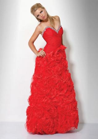 Rochie Jovani 17458 rosie lunga de seara tip A-line din organza1