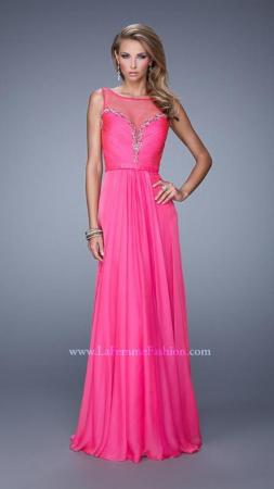 Rochie La Femme Fashion 20956 fuchsia lunga de seara in clos din voal1