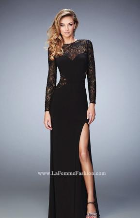 Rochie La Femme Fashion 22281 neagra lunga de seara mulata din jerse1