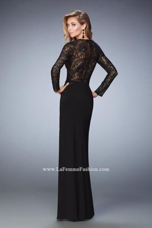 Rochie La Femme Fashion 22281 neagra lunga de seara mulata din jerse2