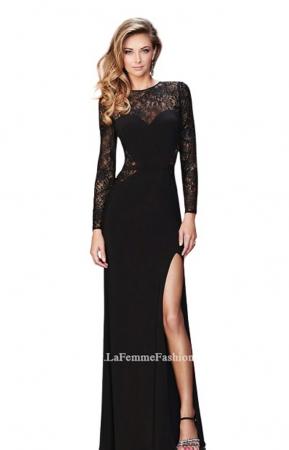 Rochie La Femme Fashion 22281 neagra lunga de seara mulata din jerse0