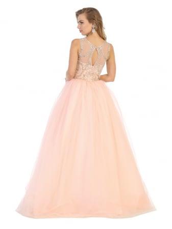 Rochie France Mode M137 roz lunga de seara princess1